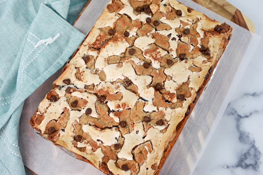 S'Mores Cookie Bars in baking dish