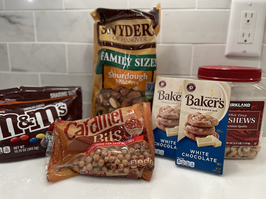 White Chocolate Snack Mix Ingredients on Counter