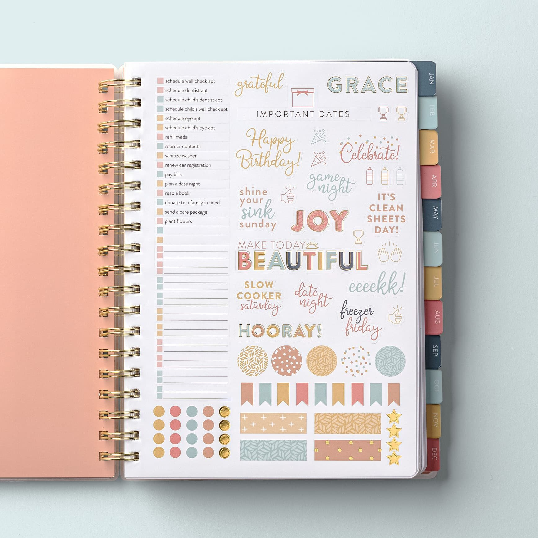 2022 Home Planner Pink Cover Sticker Page