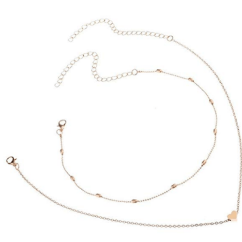 Women Double Layer Heart Pendant Statement Chain Necklace Jewelry