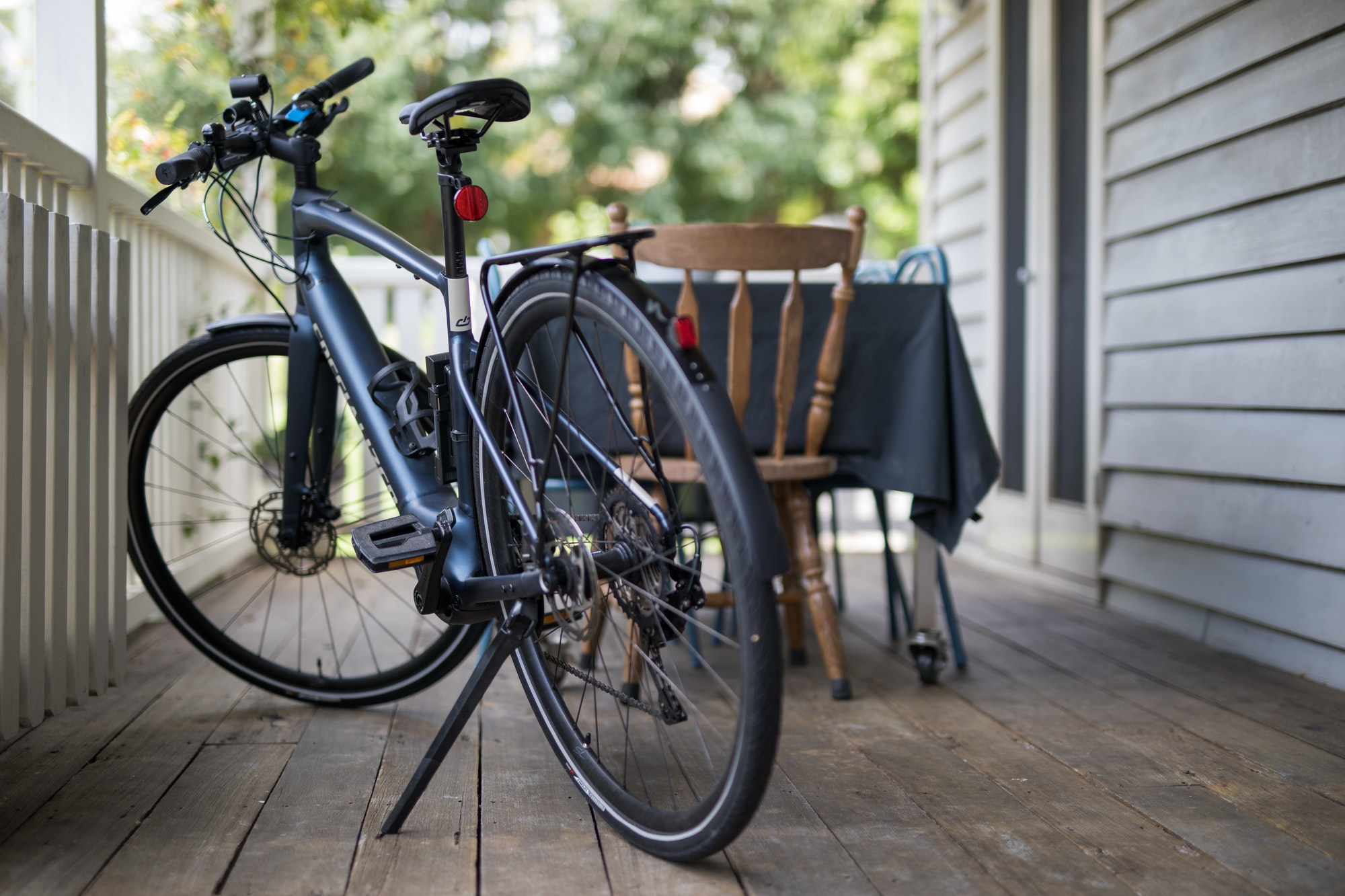 Ebike on porch of house