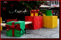 Benches under the Christmas tree