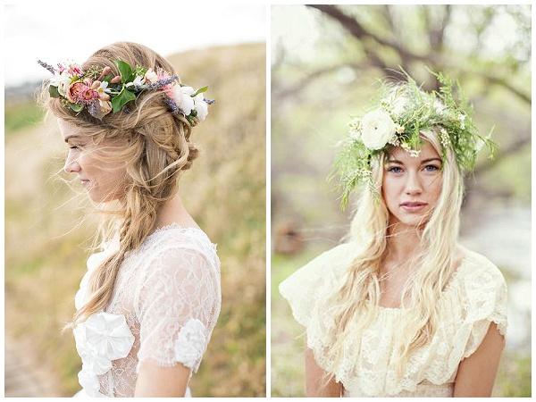 hair flowers pretty delicate flower crowns weddings