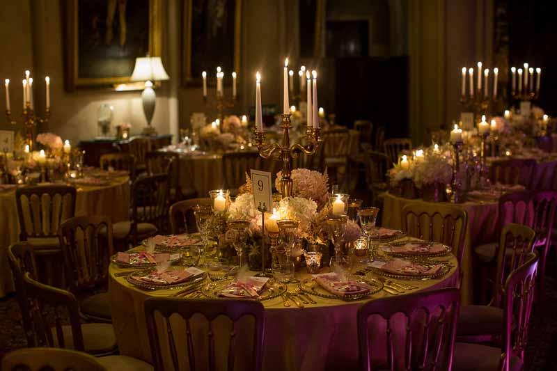 BELVOIR CASTLE WEDDING FLOWERS LUXE GOLD CANDELABRA