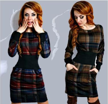 dresses-2016-spring-autumn-bottoming-font-b-ms-b-font-plaid-font-b-clothing-b-font