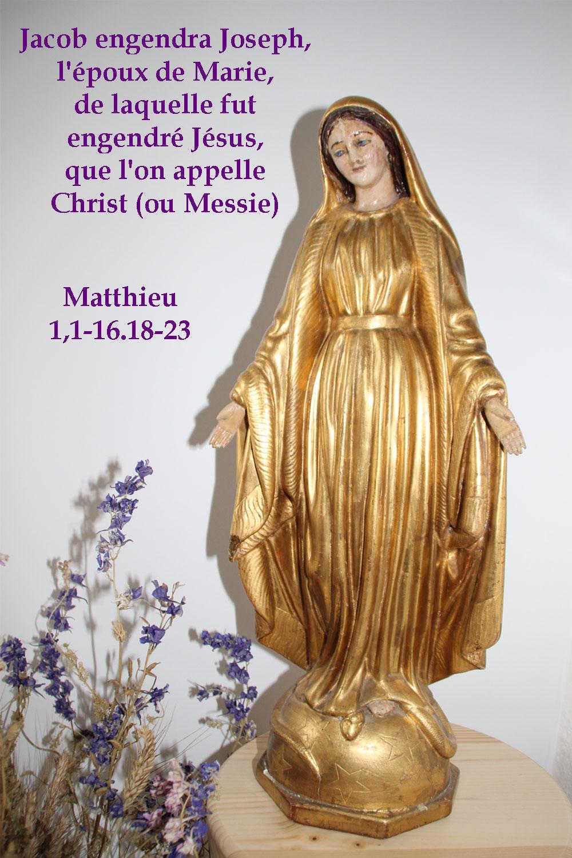 Commentaire de Matthieu 1/ 1-16.18-23