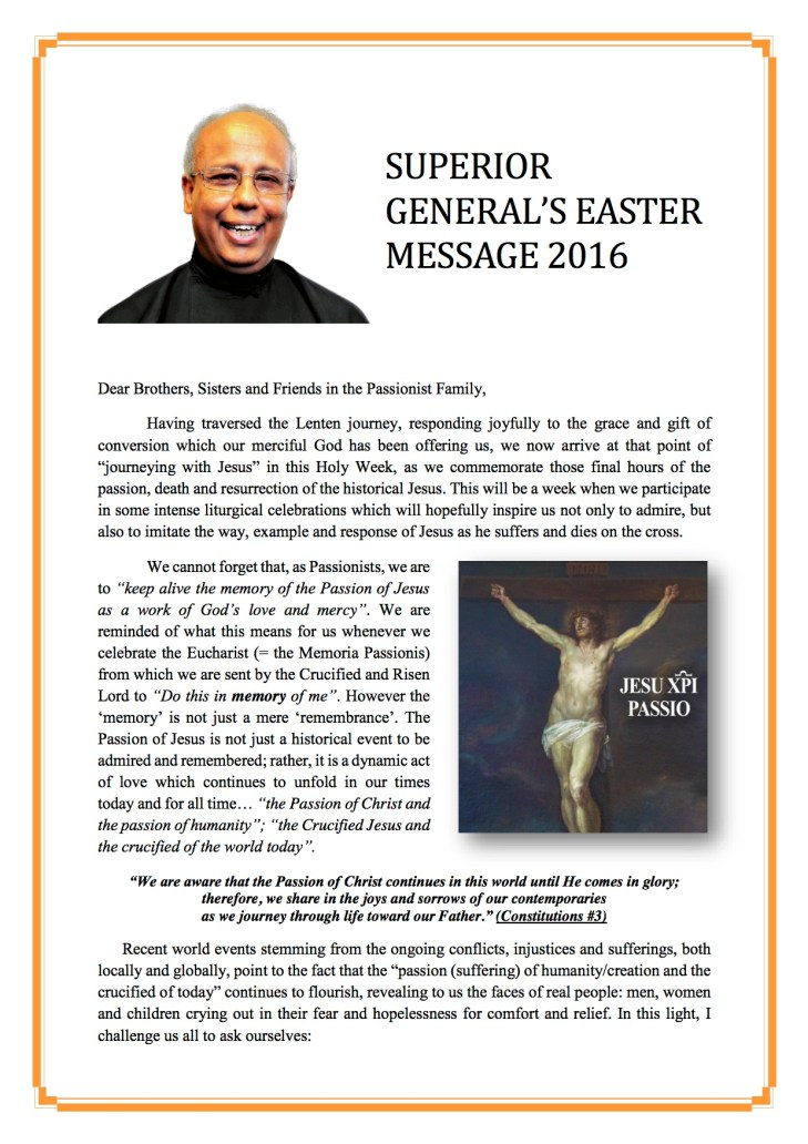 Sup Gen Easter Message 2016 English