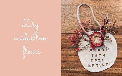 DIY médaillon fleuri (maîtresse / nounou / grand-mère…)