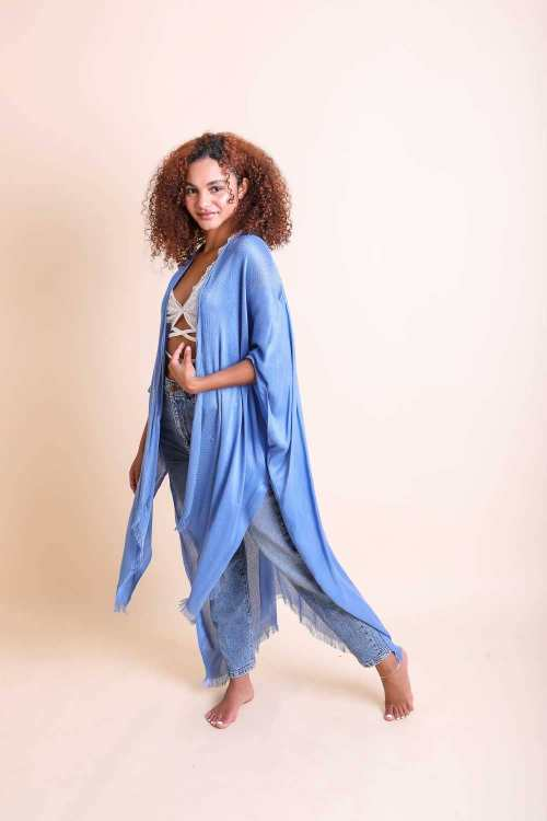 Open Weave Drape Kimono blue