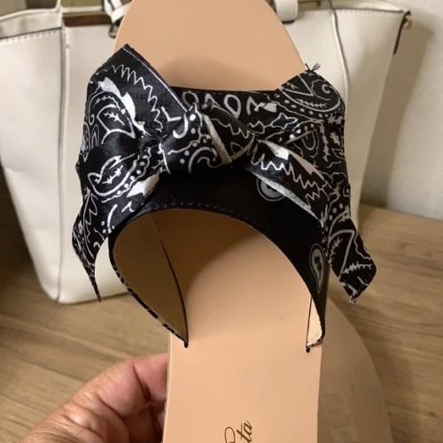 Bandana Print Bow Slide - Black