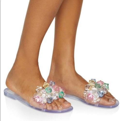 Multi Color Gem Jelly Slide Sandals