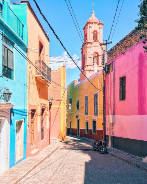 pastel colored alley in central mexico