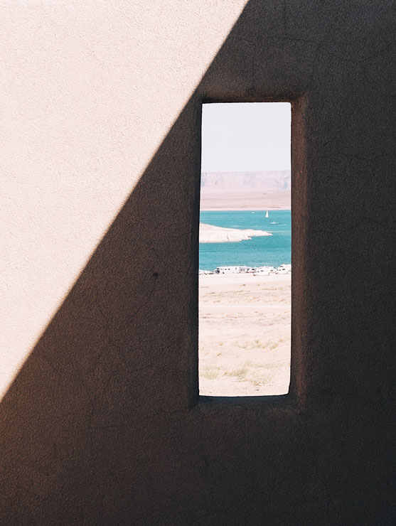 A view of Lake Powell through a window