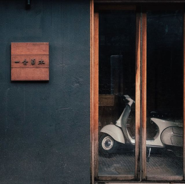 A scooter inside a building in Shenzhen, China