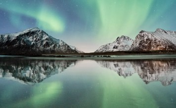 The Northern Lights in Norway, which always ranks high on the World Happiness Report.
