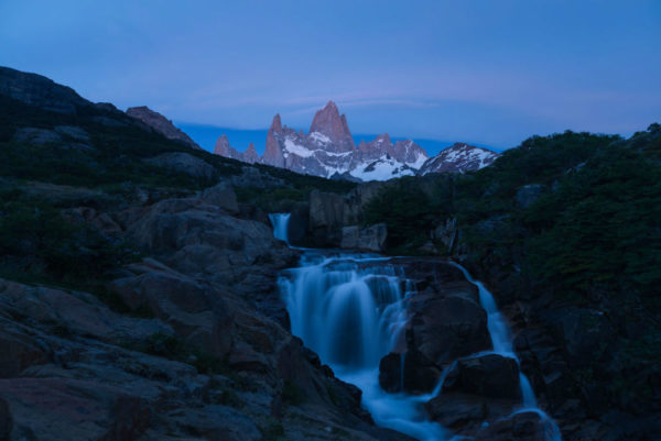 A waterfall at night in Patagonia.