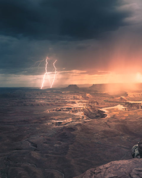 a lightning storm in Canyonlands National Park, Utah, captured by Jack Crosby