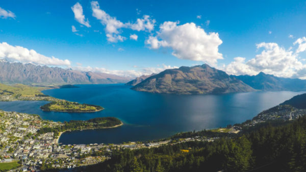 View of Queenstown from Skyline Gondola on a blue-skied day