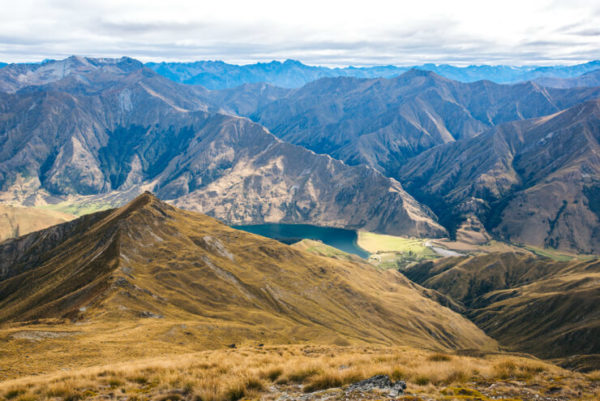 Rugged mountains and peaks from the top of Ben Lomond, Queenstown, NZ