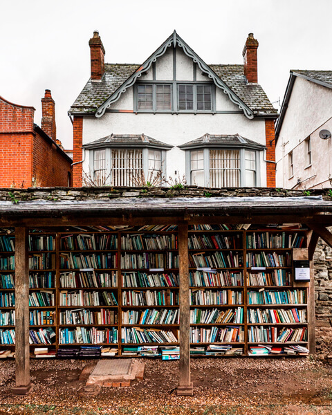 small outdoor bookshop
