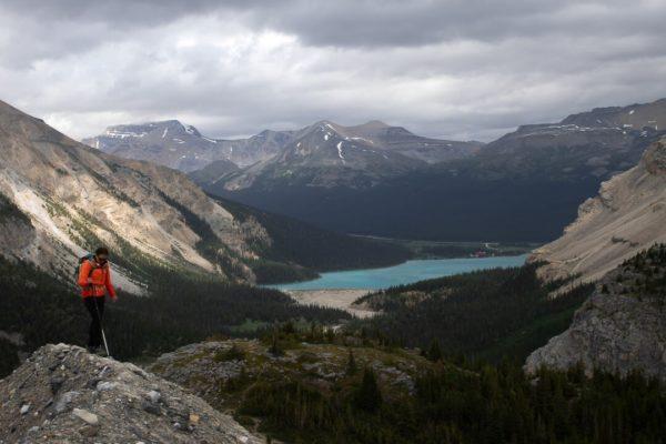woman hiking on ridge Canadian Rocky itinerary