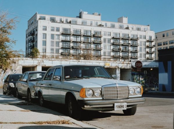 vintage blue mercedes with license plate panama