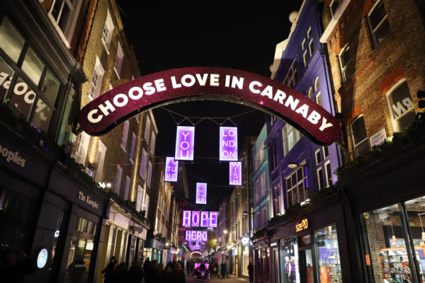 Carnaby Street in London at Christmas