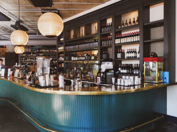 chic blue and gold wine bar