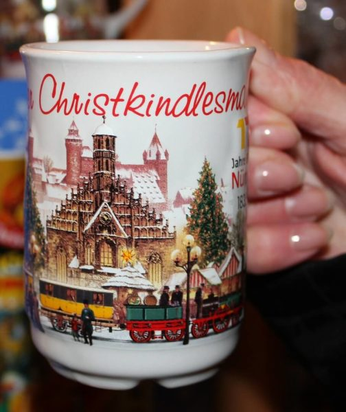 A Christmas mug with mulled wine.