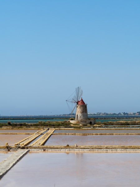 windmill in salt field