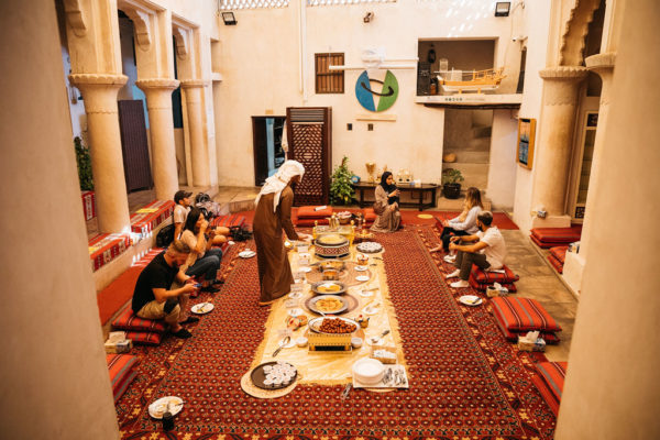 group dining on traditional emirati meal