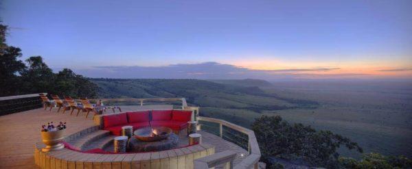 Angama Mara Lodge in Kenya at unset