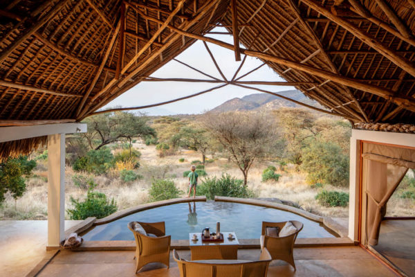 Kenya Lentorre lodge looking over countryside and pool
