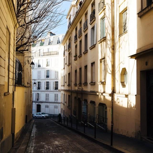 Afternoon light on hidden Paris alley way