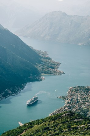 Ferry passes through channel in Montenegro