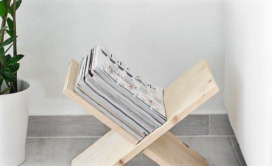 diy wooden x shaped magazine holder