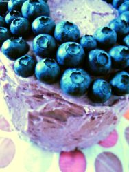 Blueberry frosting birthday cake