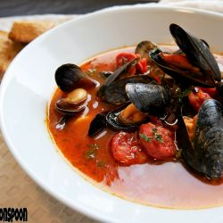 Spicy mussels with chorizo.