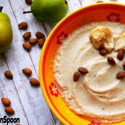 Roasted cauliflower pear soup.