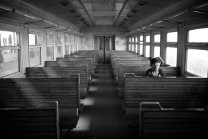 Woman on a train