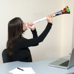 Business Woman With Vuvuzela