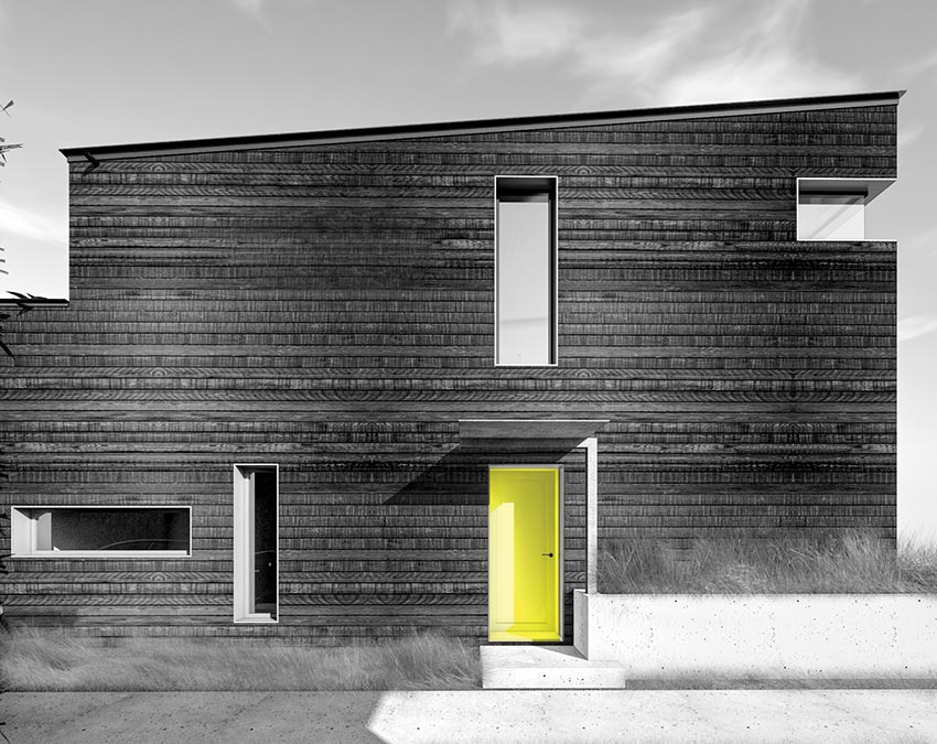 Front view rendering of a passive house with playful geometric cutouts for windows and door.