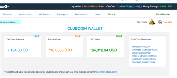 ClubCoin wallet Bitclub Network