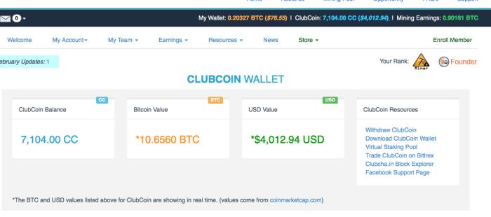 ClubCoin wallet Bitclub Network