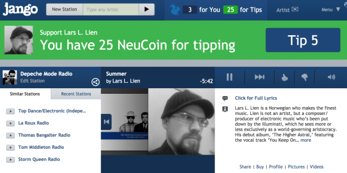Radio Airplay NeuCoin Tip