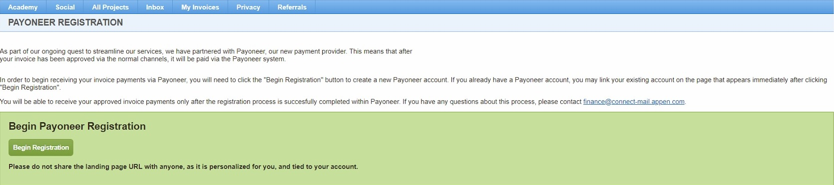 appen adding already existing payoneer account as payment