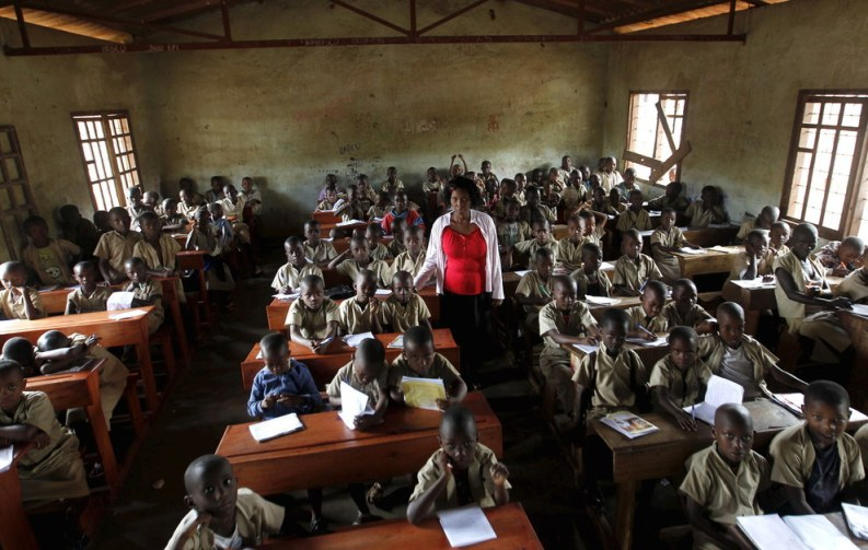 A teacher leads a class session at the ecole primaire Ave Marie in Burundi's capital Bujumbura. Thomas Mukoya - Reuters