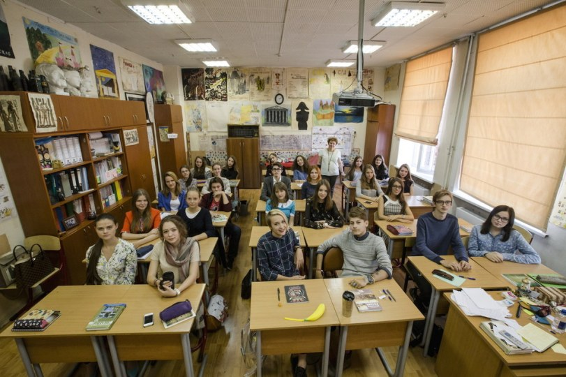 Students of the 10th form of the Gymnasium 1567 with their teacher of history, Tamara Eidelman, in Moscow, Russia. Maxim Shemetov - Reuters