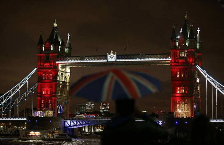 United Kingdom - London's Tower Bridge lit up in blue,white and red - France's national colours