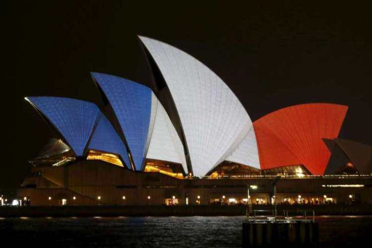 Australia - The Sydney Opera House in the colours of the French national flag